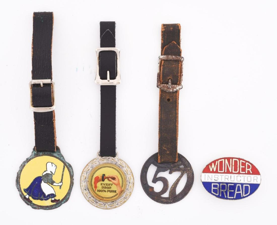 Lot Of 4: Assorted Advertising Key Fobs & Pin From Old