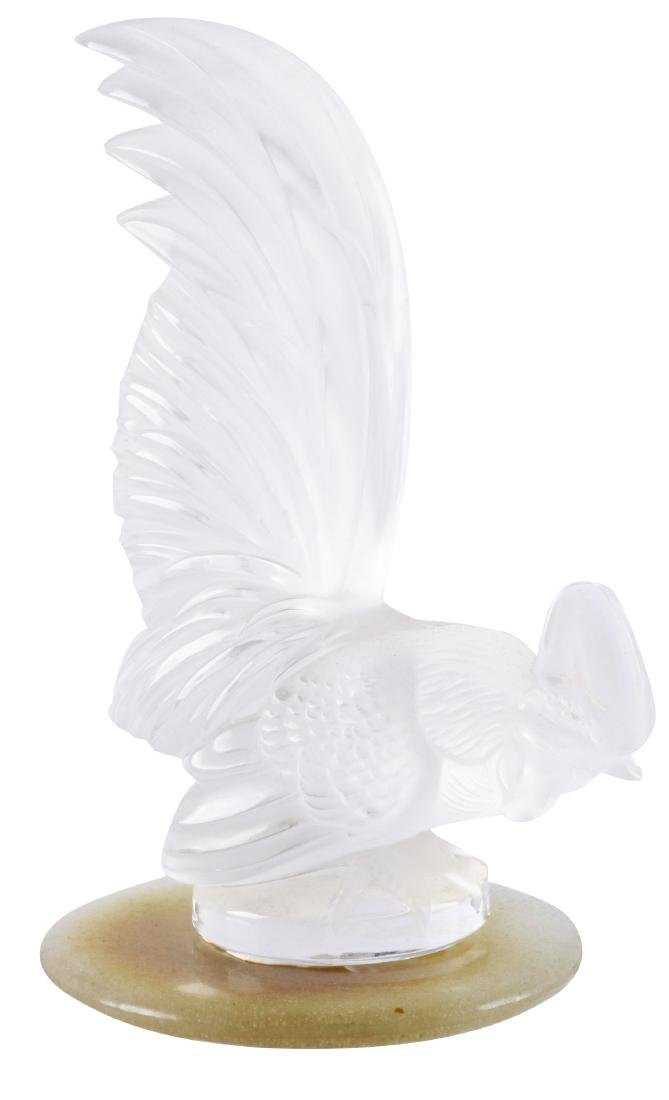 R. Lalique Frosted Glass Rooster Mascot Hood Ornament.