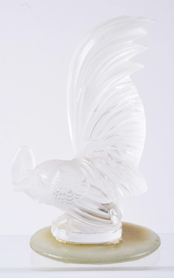 R. Lalique Frosted Glass Rooster Mascot Hood Ornament. - 2