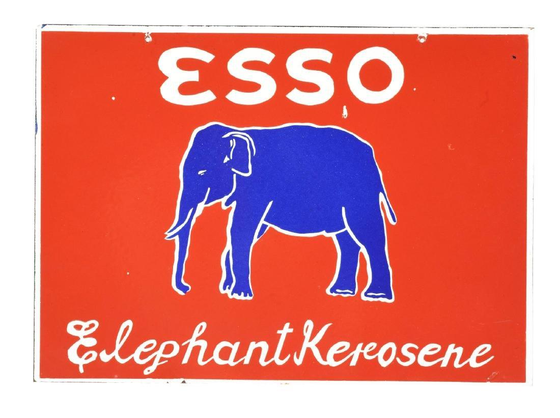 Esso Elephant Kerosene Porcelain Flange Sign with