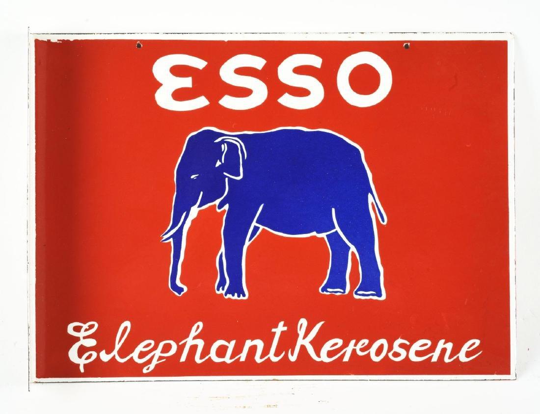 Esso Elephant Kerosene Porcelain Flange Sign with - 2