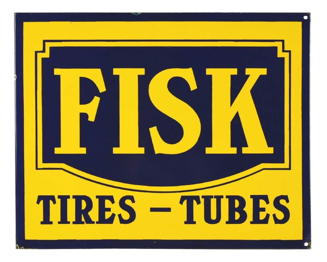 Incredible Fisk Tires & Tubes Porcelain Flange Sign.