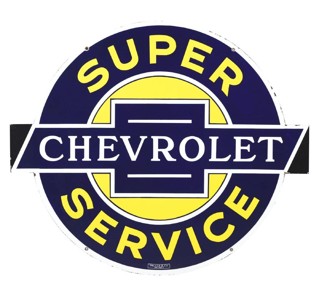 Outstanding Chevrolet Super Service Porcelain Sign with