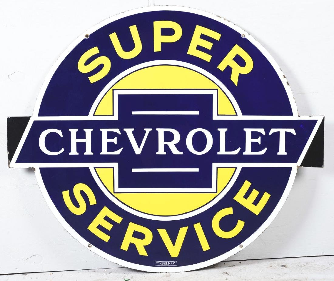 Outstanding Chevrolet Super Service Porcelain Sign with - 2