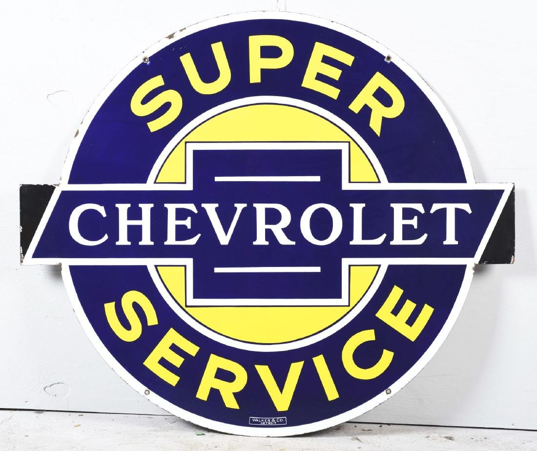 Outstanding Chevrolet Super Service Porcelain Sign with - 4