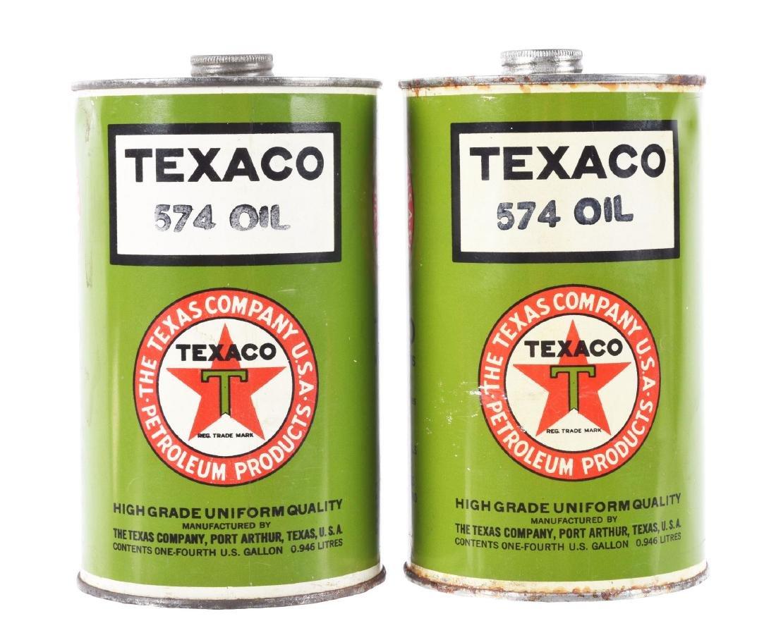 Lot of 2: Texaco Motor Oil Quart Cans.