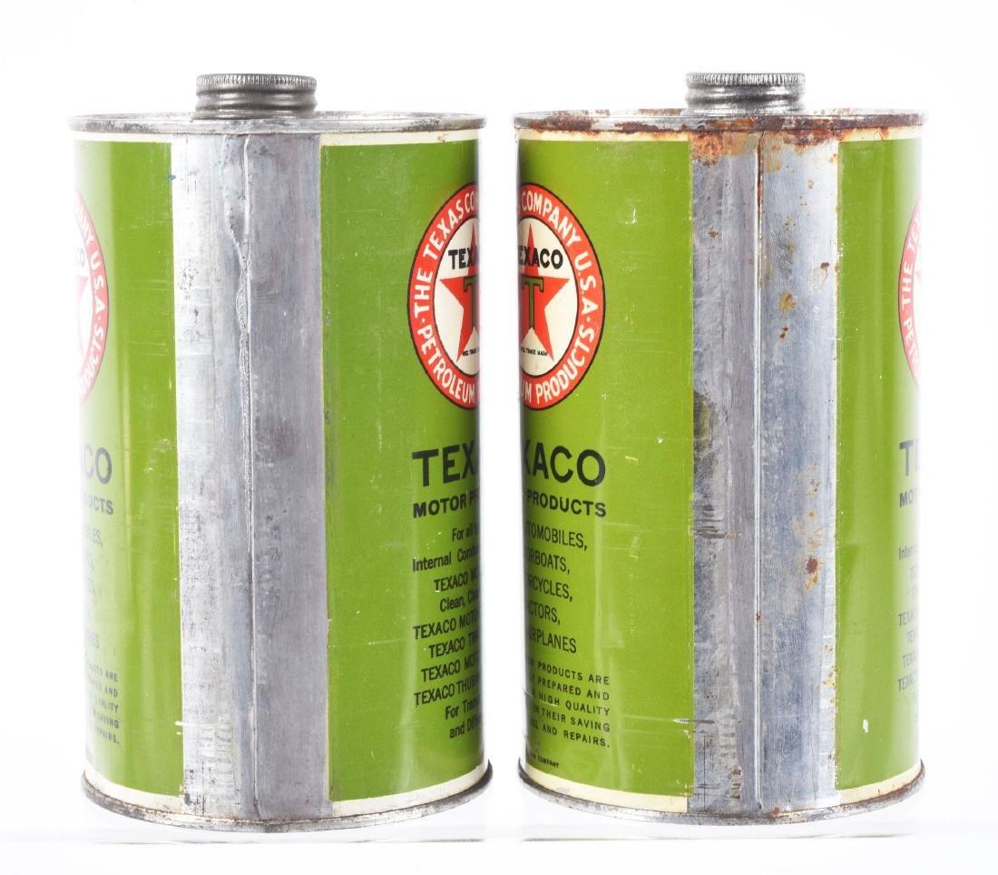 Lot of 2: Texaco Motor Oil Quart Cans. - 2