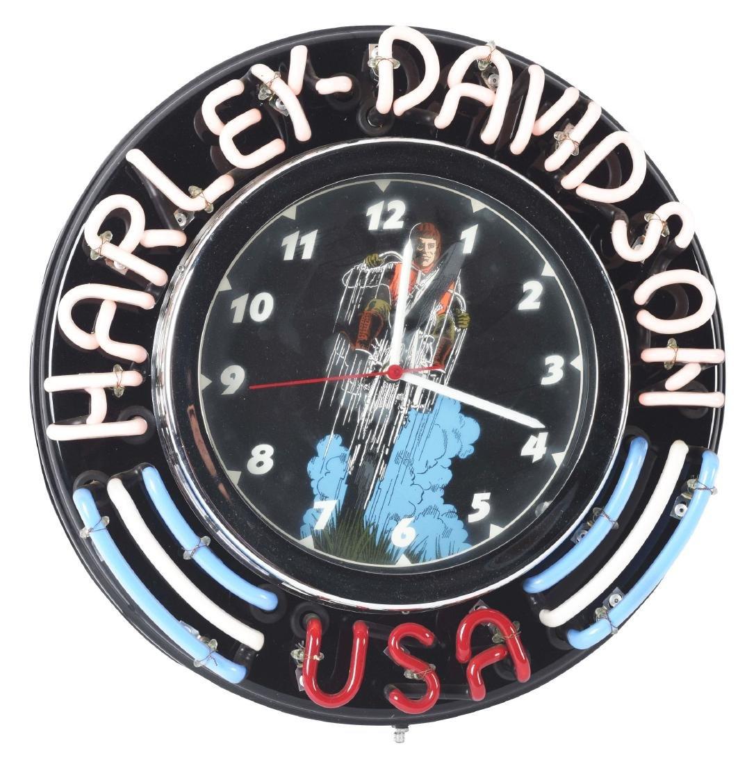 Lumichron Neon Clock With Harley Davidson Neon Script