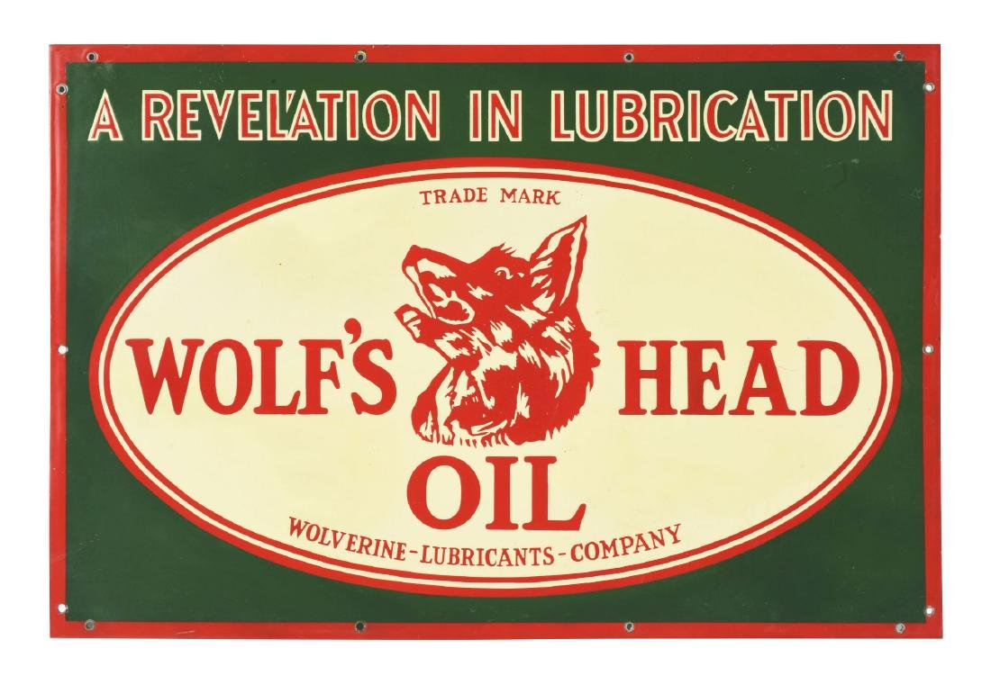 Rare Wolf's Head Motor Oil Porcelain Sign with Wolf