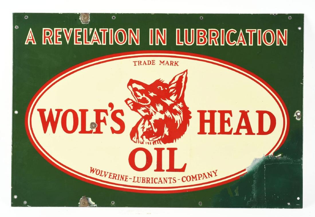 Rare Wolf's Head Motor Oil Porcelain Sign with Wolf - 2