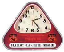 Rare Phillips 66 Gasoline Neon Advertising Clock.