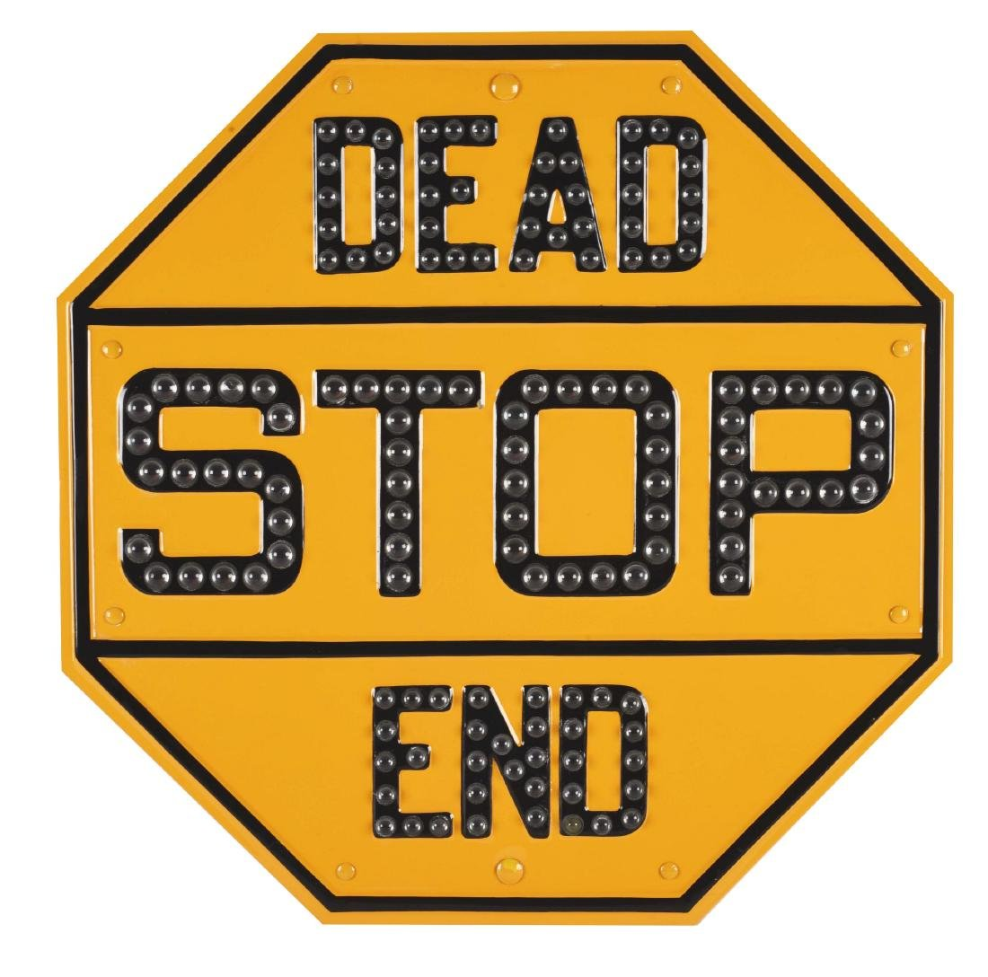Stop Dead End Embossed Metal Sign with Glass