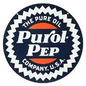Pure Oil Co. Purol Pep Gasoline Porcelain Curb Sign.