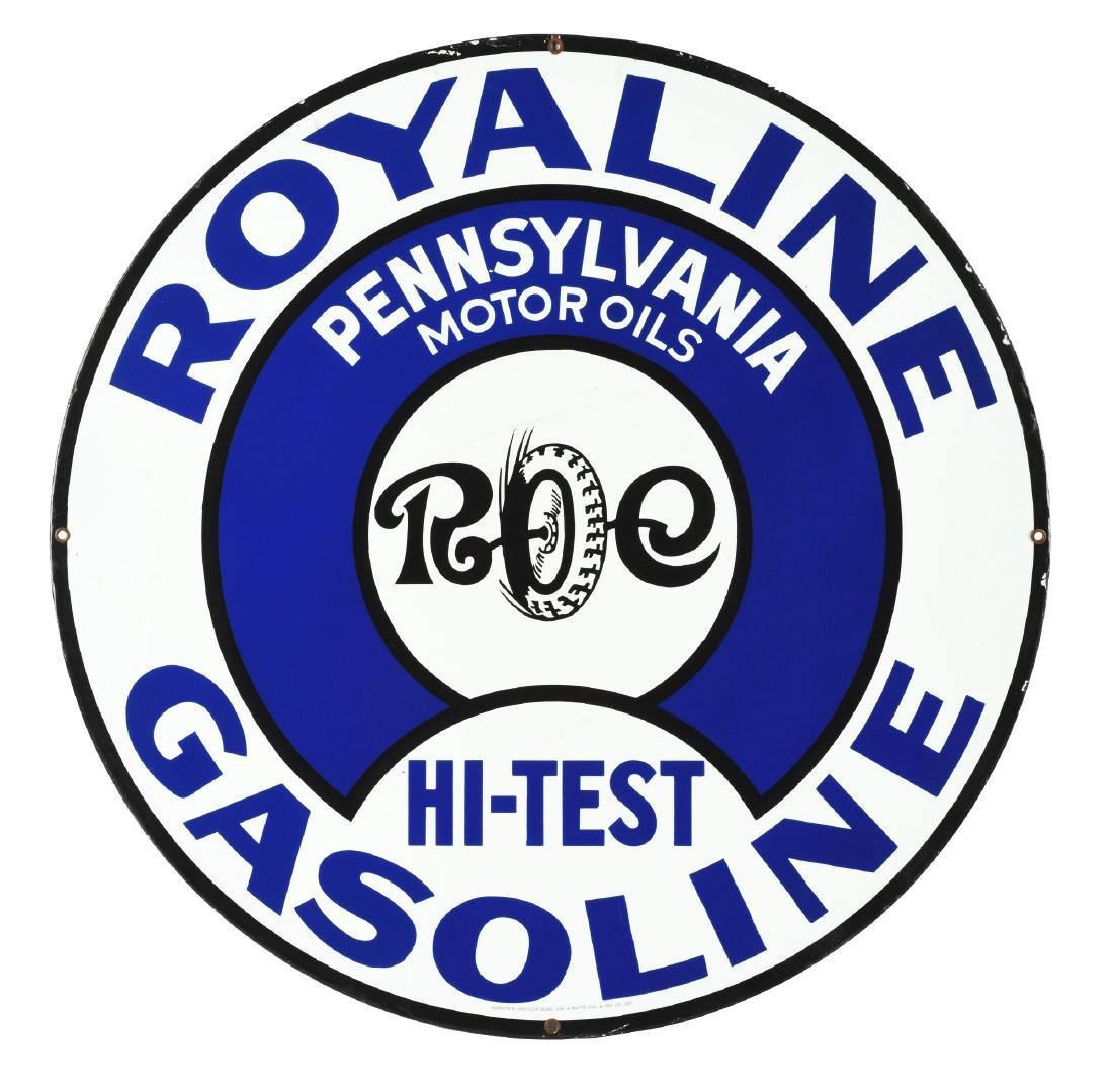 Incredible Royaline Hi Test Gasoline Porcelain Curb