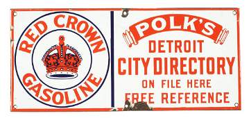 Red Crown Gasoline City Directory Porcelain Sign