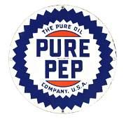 Pure Oil Company Pure Pep Gasoline Porcelain Sign.