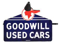 Goodwill Used Cars Die-Cut Porcelain Dealership Sign On