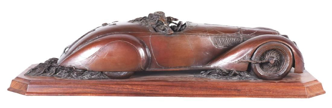 Stanley Wanlass Freewheelin' Bronze Sculpture On Walnut