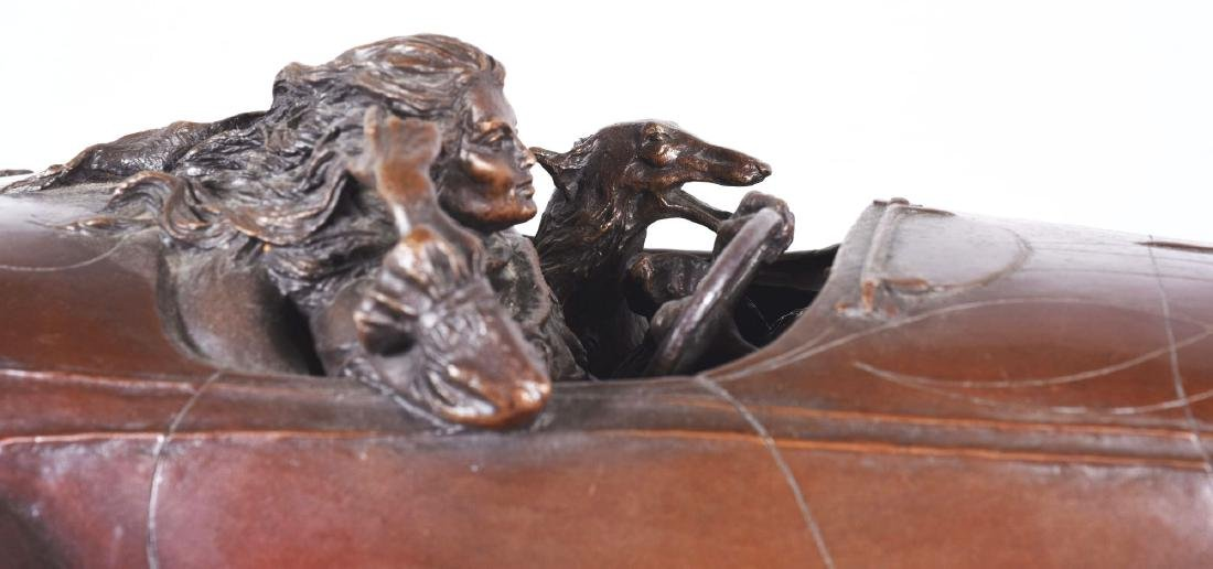 Stanley Wanlass Freewheelin' Bronze Sculpture On Walnut - 2