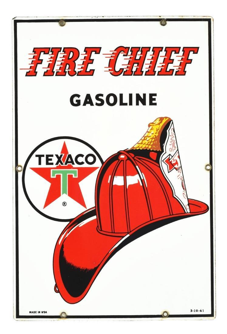 Texaco Fire Chief Gasoline Porcelain Pump Sign.