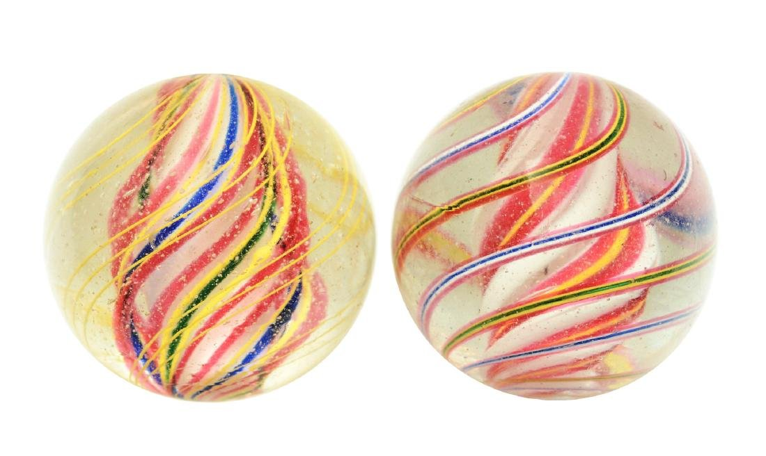 Lot Of 2: Large Swirl Marbles.