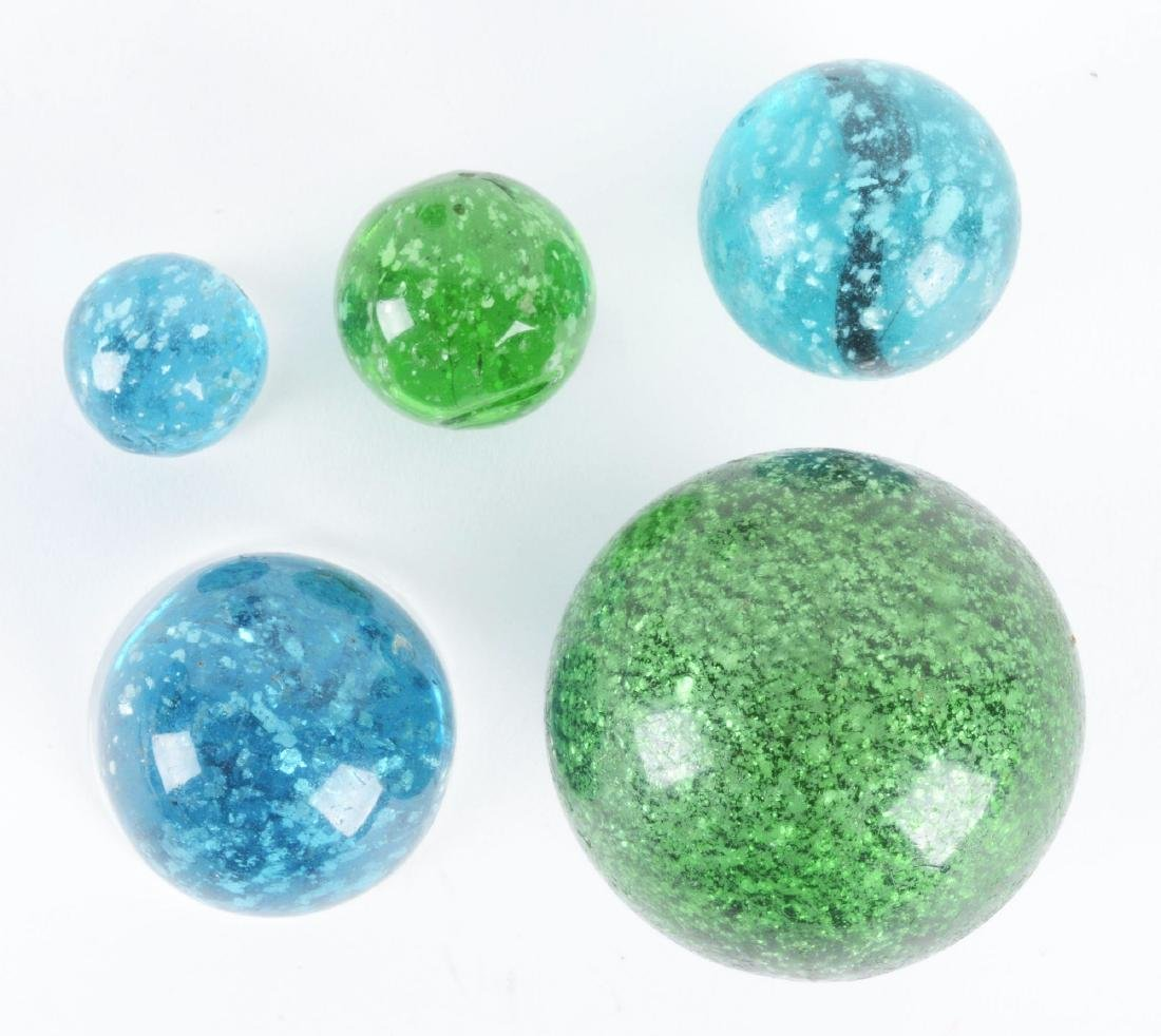 Lot Of 5: Mica Marbles. - 2