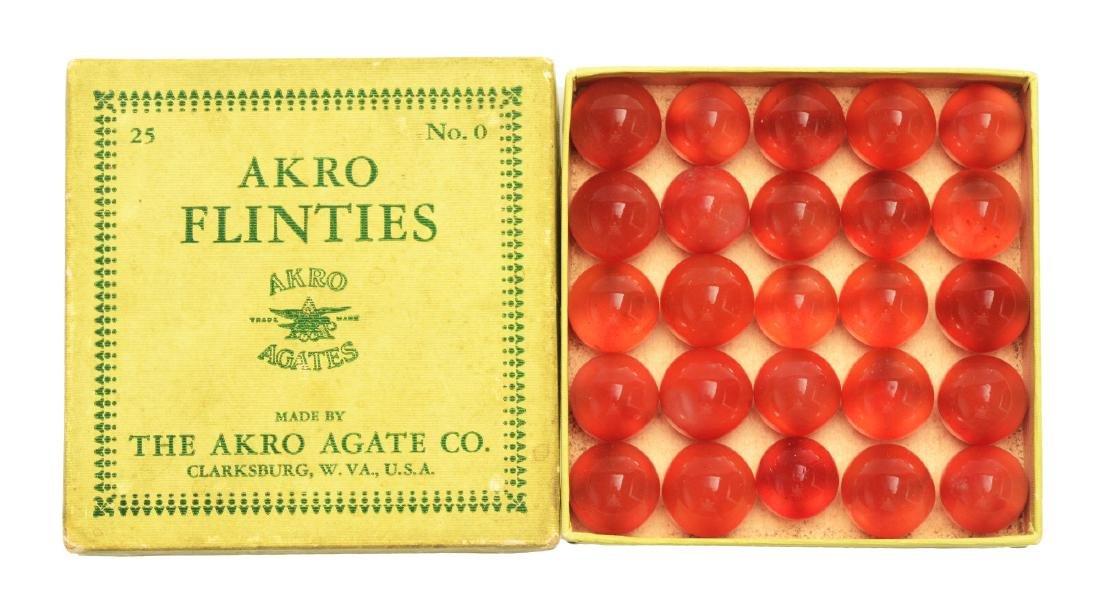 Akro Agate 25 Count Flinties No. 0 Box Set.