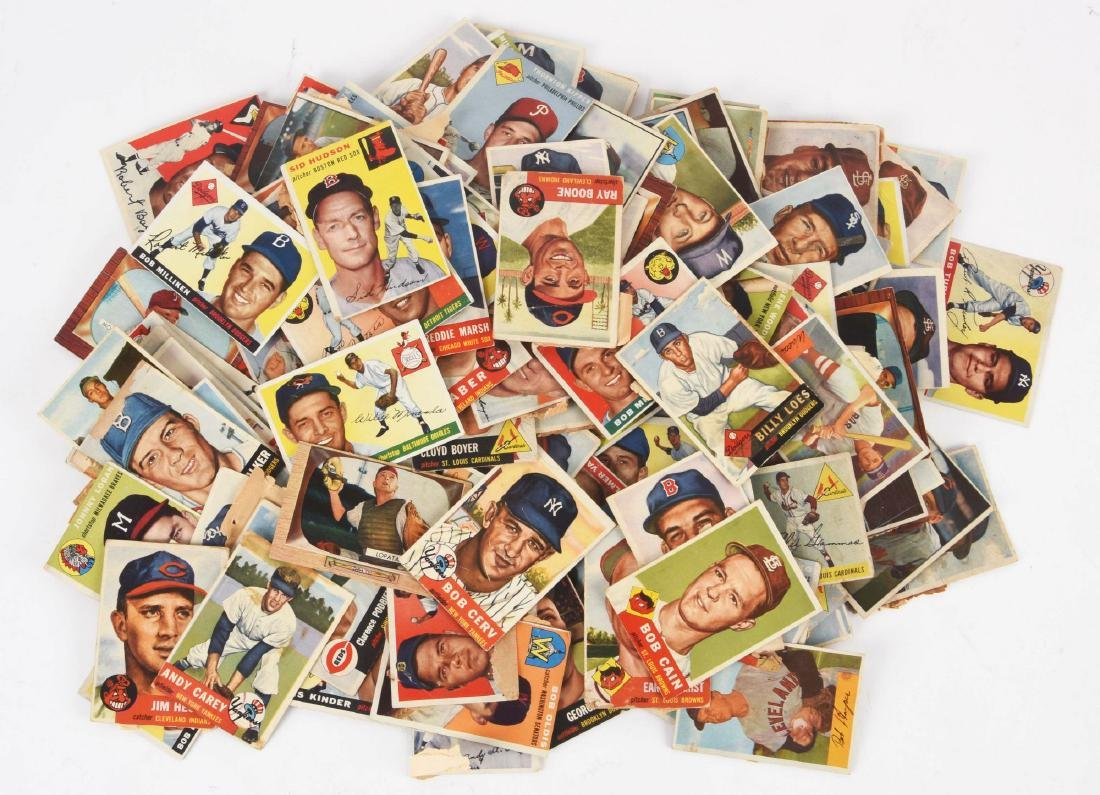 Lot of Approximately 100 1950's Baseball Cards.