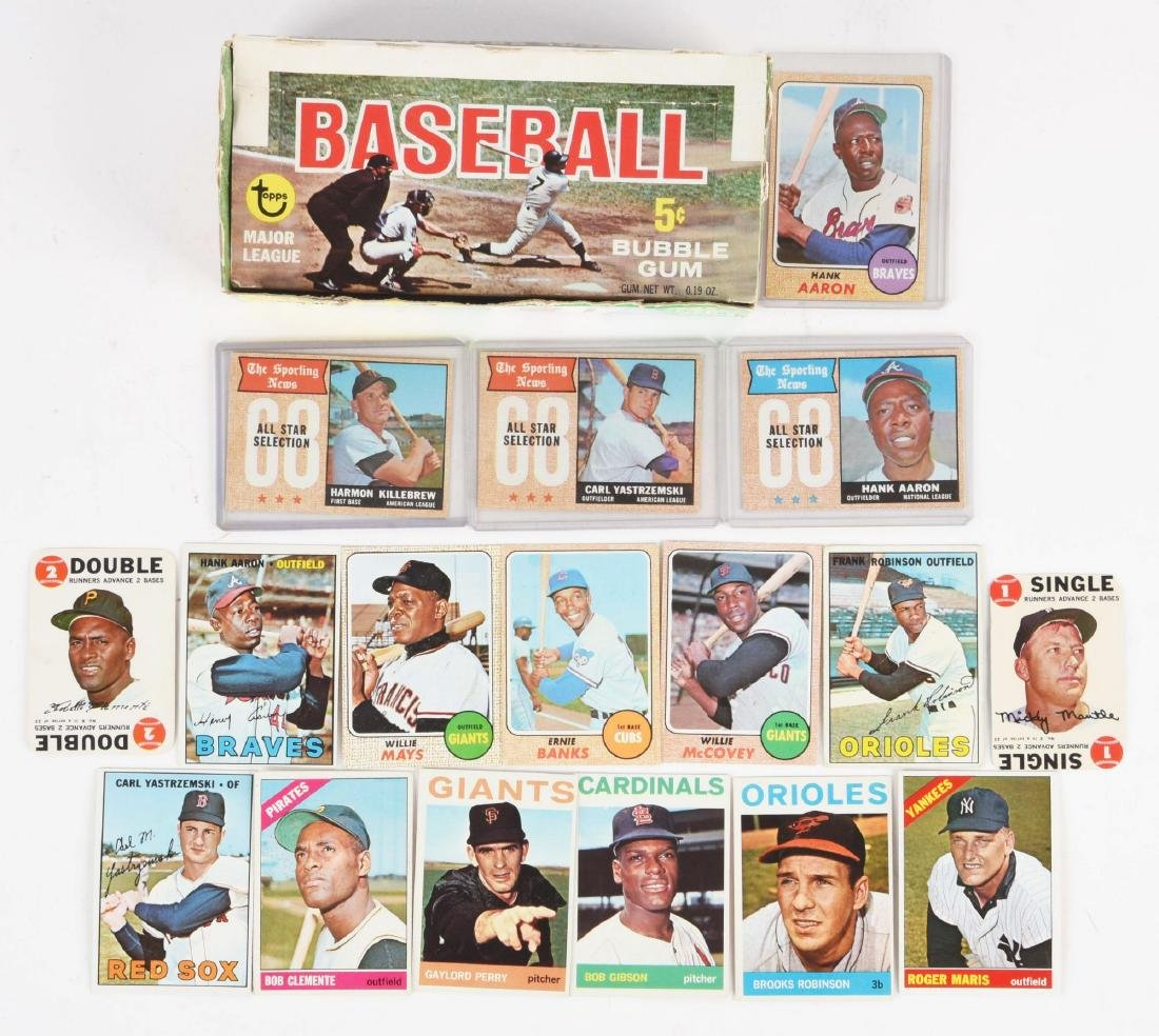 1968 Topps Empty Wax Box & Group of 1960's Baseball &