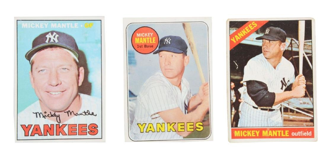 Lot of 3: 1960's Topps Mickey Mantle Baseball Cards.