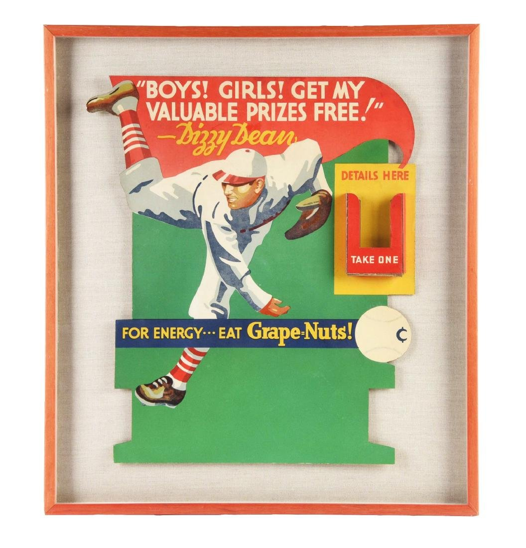 Beautiful Dizzy Dean Grape Nuts Diecut Advertising