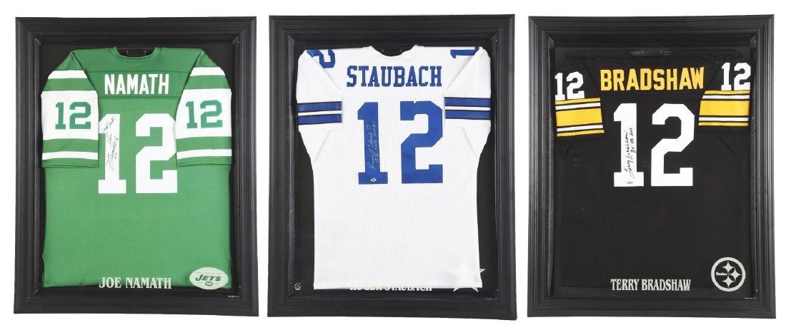 Lot Of 3: Autographed NFL Quarterback Jerseys.
