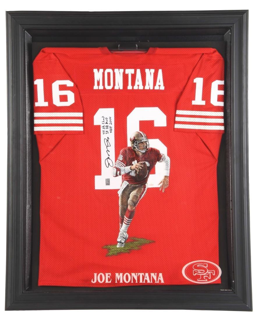 Autographed NFL Joe Montana 49ers No. 16 Jersey.