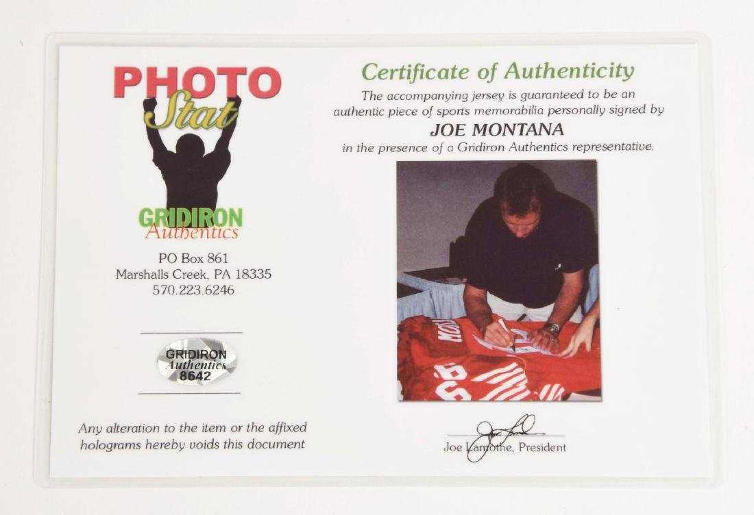 Autographed NFL Joe Montana 49ers No. 16 Jersey. - 4