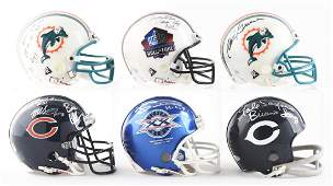 Lot Of 6 NFL Autographed Miniature Helmets In Cases