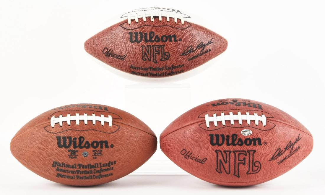 Lot Of 3: NFL Autographed Footballs In Cases. - 2