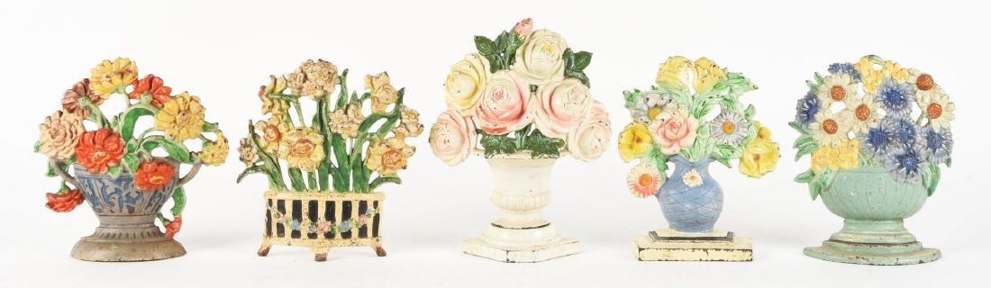 Lot Of 5: Cast Iron Assorted Flower Doorstops.