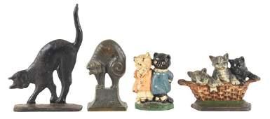Lot Of 4: Assorted Cast Iron Cat Doorstops.