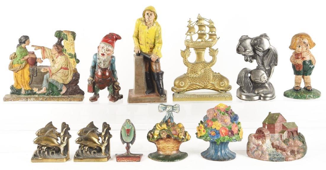 Lot of 11: Cast Iron Assorted Figural Doorstops &