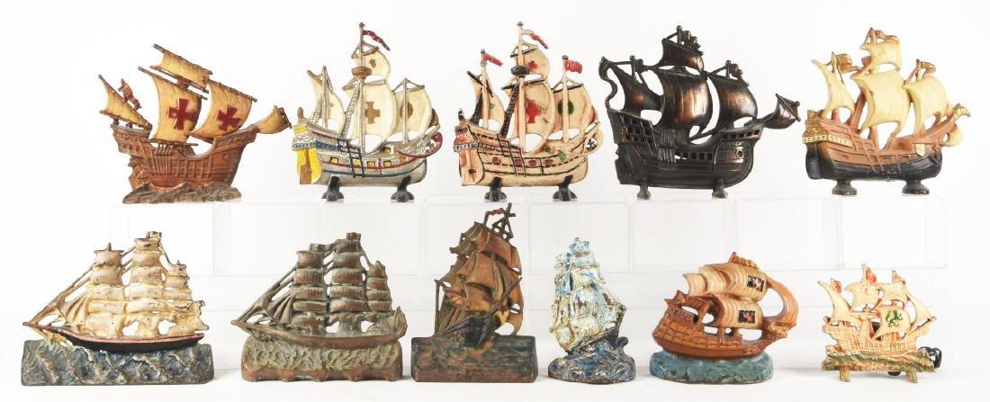 Lot of 11: Cast Iron Assorted Ship Doorstops.