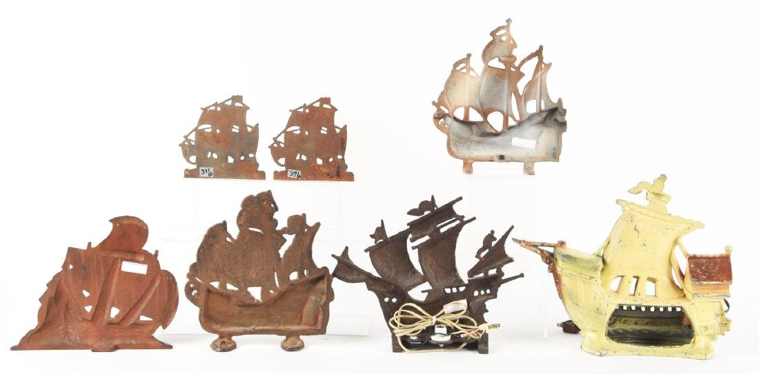 Lot of 6: Cast Iron Ship Doorstops, Bookends & Lamps. - 2