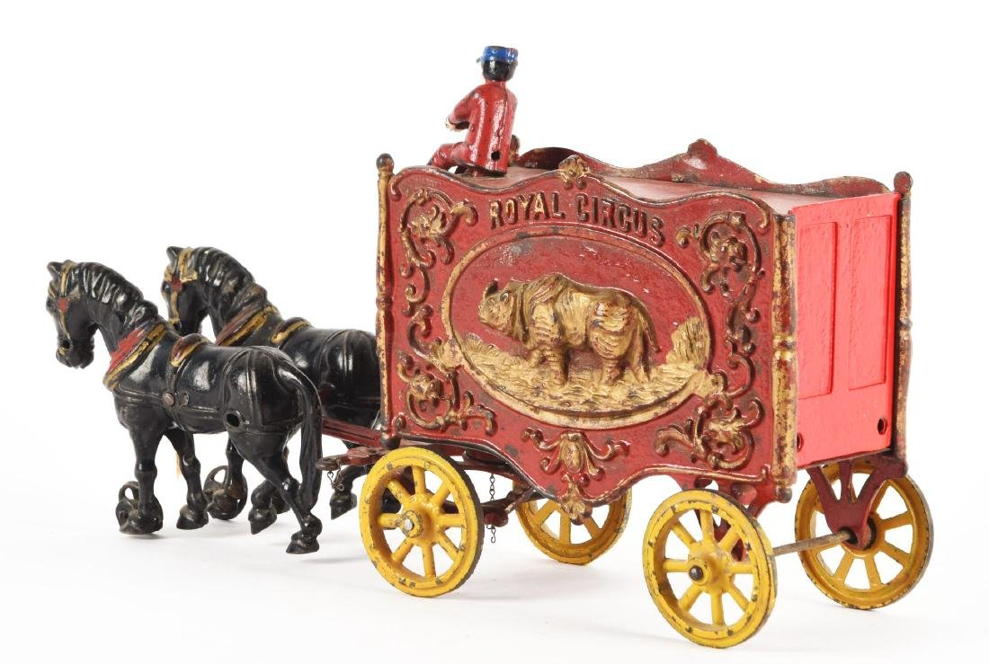 Cast Iron Hubley Royal Circus Rhino Cage. - 2
