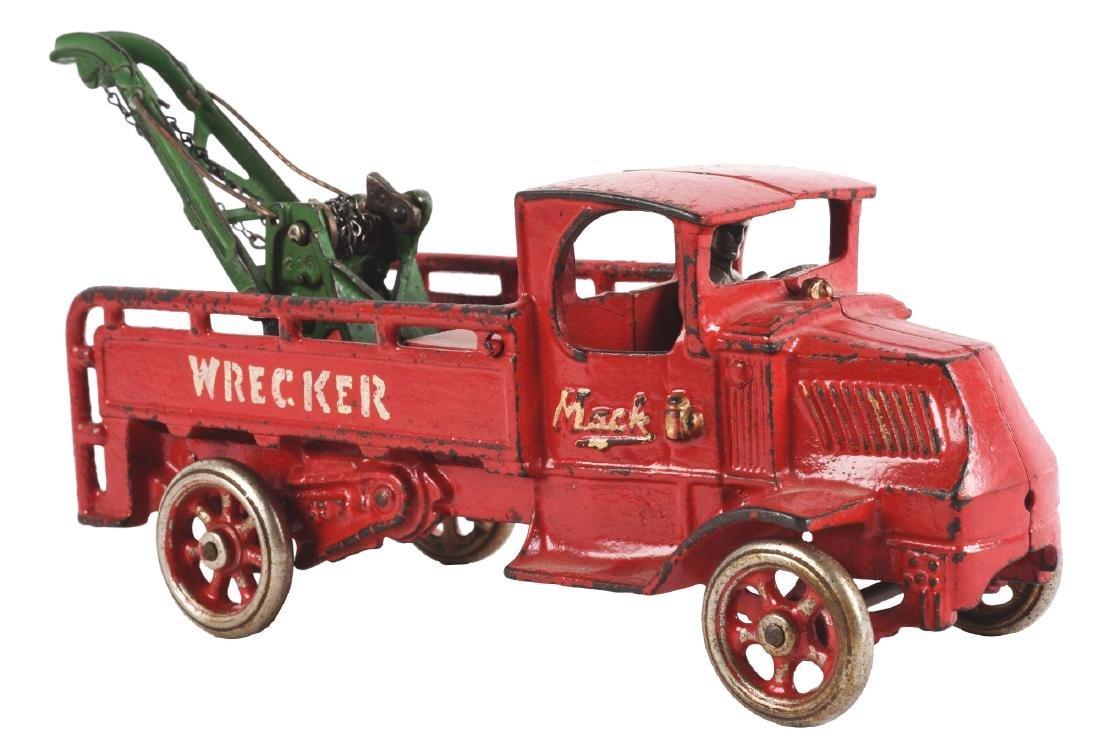 Scarce Cast Iron Arcade Mack Wrecker Truck.