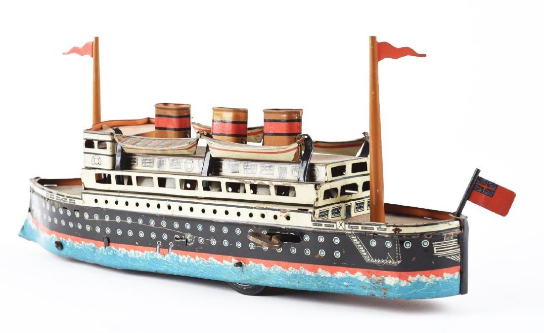 German Gunthermann Tin Litho Wind Up Ocean Liner. - 2
