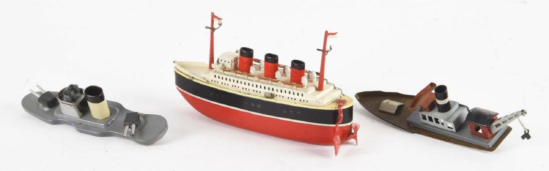 Scarce German Fleischmann Tin Litho Wind-Up Boats Set. - 2