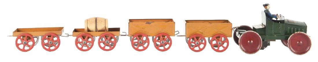Lot Of 5: French Tin Litho Wind-Up Auto Gash Transports