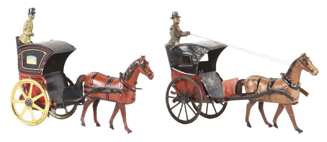 Lot Of 2: European Tin Litho Wind-Up Horse Drawn Hansom