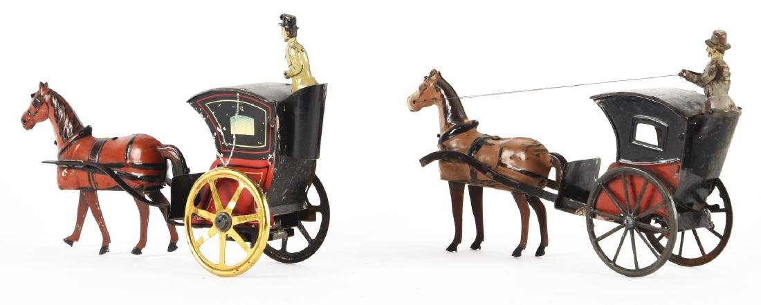 Lot Of 2: European Tin Litho Wind-Up Horse Drawn Hansom - 2