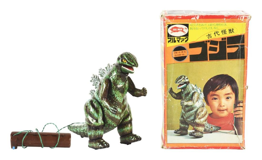 Japanese Tin Litho Battery Operated Remote Godzilla Toy