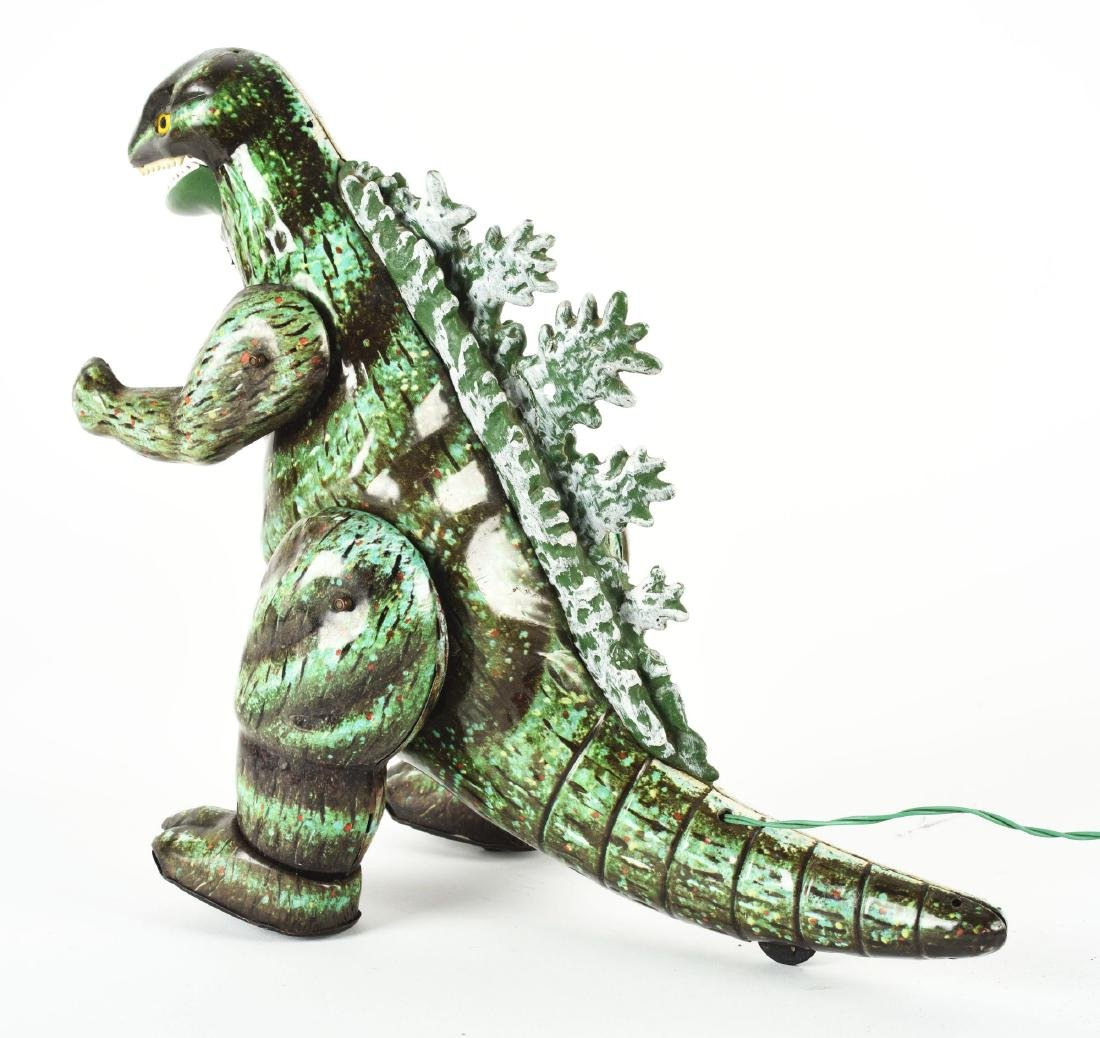 Japanese Tin Litho Battery Operated Remote Godzilla Toy - 2